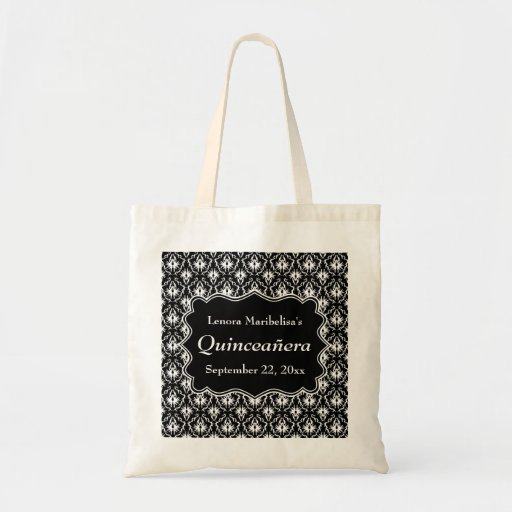 Damask Black and White Quinceanera Bag