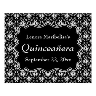 Damask Black and White Quinceanera Print