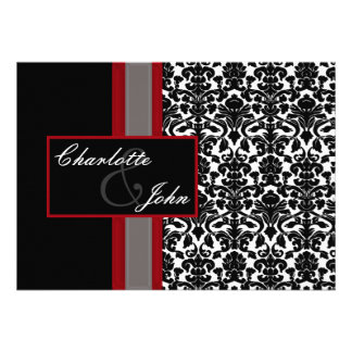 damask black and white Save the date Invites