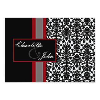 damask black and white Save the date 5x7 Paper Invitation Card