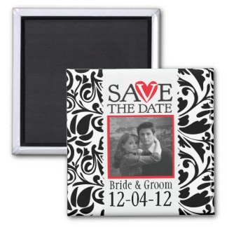 Damask Black and White Save The Date Magnet
