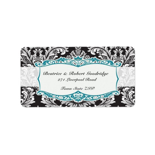Damask black and white Wedding Avery Address Label