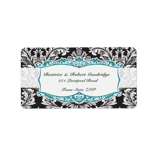 Damask black and white Wedding Avery Label