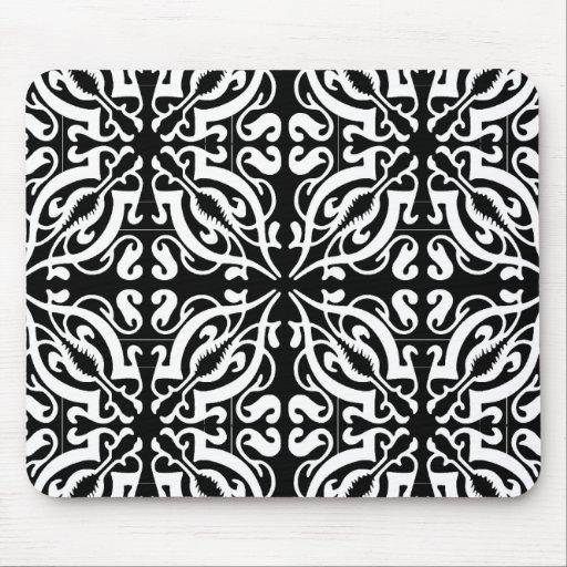 Damask - black background mouse pad