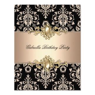 Damask Black Coffee Birthday Party Pearl 11 Cm X 14 Cm Invitation Card