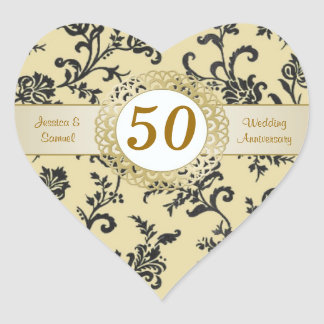 Damask black flowers on gold Wedding Anniversary Heart Sticker
