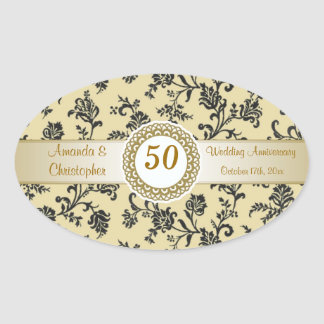 Damask black flowers on gold Wedding Anniversary Oval Sticker