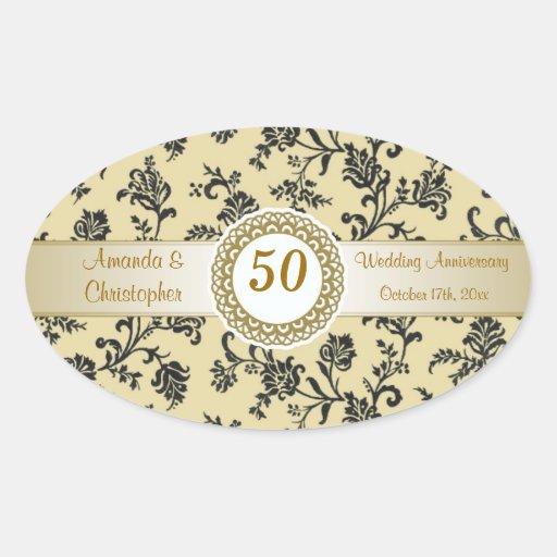 Damask black flowers on gold Wedding Anniversary Oval Sticker