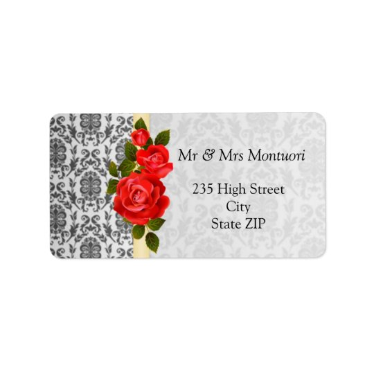 Damask black grey, red roses Return address Label