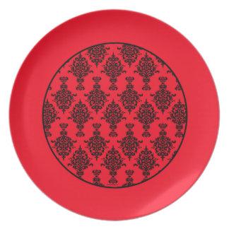 Damask Black on Red  Border Plate