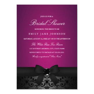 Damask Black & Pink Bow Bridal Shower Invite