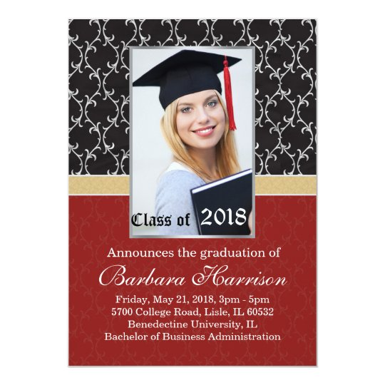Damask black, red Graduation Announcement Photo