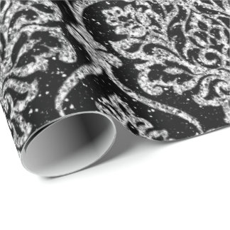 Damask Black Royal Gray Silver Glitter Wrapping Paper