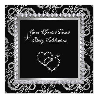 Damask Black Silver Diamonds Heart Party 13 Cm X 13 Cm Square Invitation Card