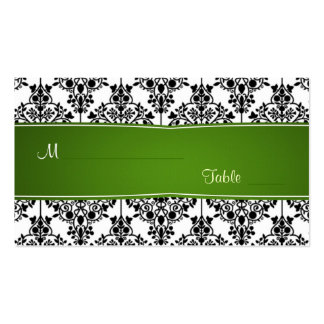 Damask black, white and green Wedding Place card Pack Of Standard Business Cards