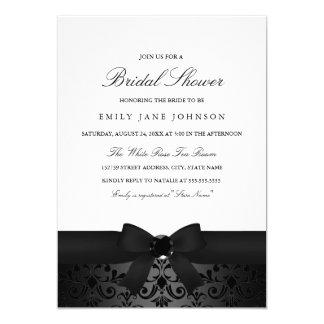 Damask Black & White Bow Bridal Shower Invite