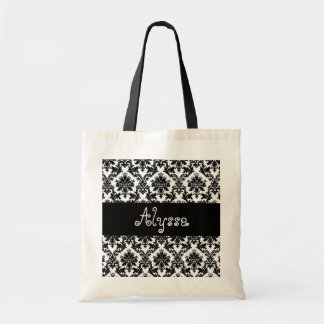 Damask Black White Bride or Bridesmaid Gift Canvas Bags