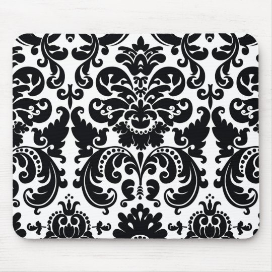 Damask Black White Elegant Chic Computer Mouse Pad