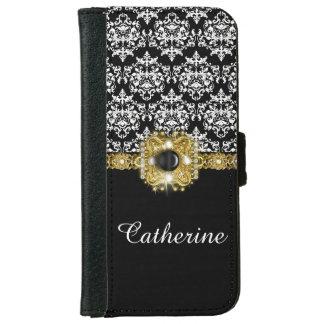 Damask black white girls gems iPhone 6 wallet case