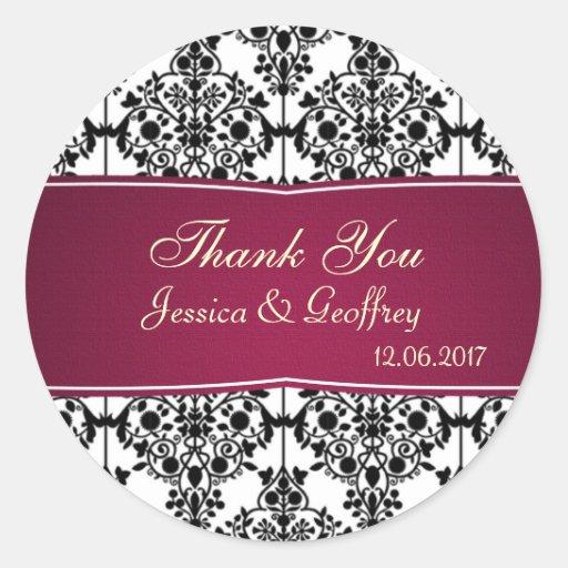 Damask black, white, magenta Thank you Wedding Round Sticker