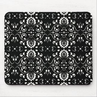 Damask - (Black & white) Mouse Mat