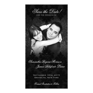 Damask Black White Photo Save the Date Picture Card