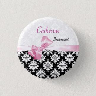 Damask black white, pink bow Wedding Bridesmaid 3 Cm Round Badge