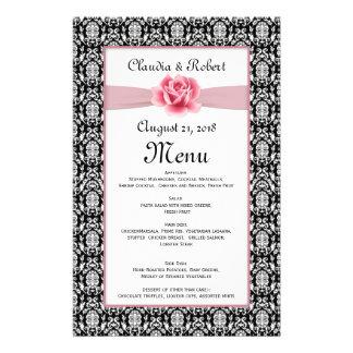 Damask black white, pink rose Wedding Menu 14 Cm X 21.5 Cm Flyer