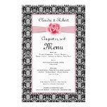 Damask black white, pink rose Wedding Menu Flyer