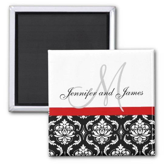 Damask Black White Red Monogram Names Magnet