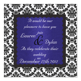 DAMASK BLACK & WHITE ROYAL BLUE Wedding Invatation 13 Cm X 13 Cm Square Invitation Card