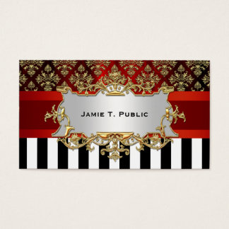Damask, Black White Stripe, Red Ribbon, Gold Label Business Card