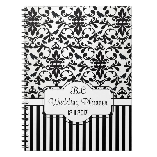 Damask black white stripes Wedding Planner Noteboo Notebooks