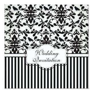 Damask black white swirls, birds, stripes Wedding Card