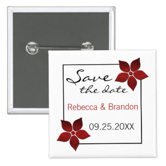 Damask Blooms Save the Date Button, Red 15 Cm Square Badge