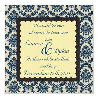 DAMASK BLUE & Beige ROYAL BLUE Wedding Invitation