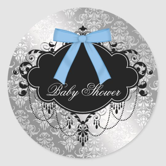 Damask Blue Black Baby Boy Shower Sticker