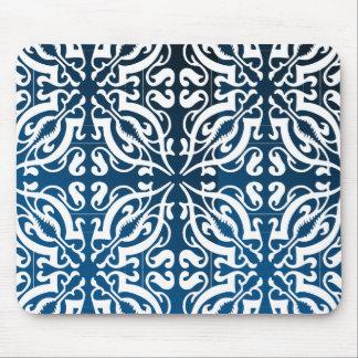 Damask - Blue+black Background Mouse Pad