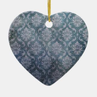 DAMASK BLUE CERAMIC HEART DECORATION
