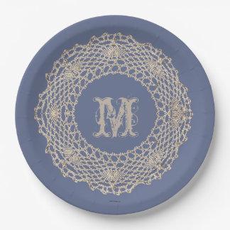 Damask Blue Crochet Doily Paper Plate