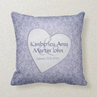 Blue heart wedding pillow