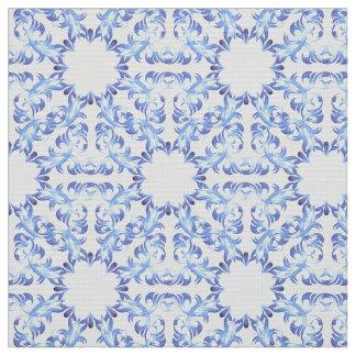 damask blue pattern fabric
