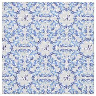 damask blue pattern. monogram. fabric
