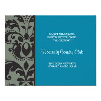 damask blue; reception 11 cm x 14 cm invitation card