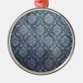 DAMASK BLUE Silver-Colored ROUND DECORATION