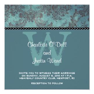 damask blue; wedding 13 cm x 13 cm square invitation card