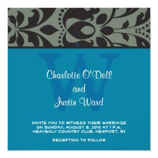 "damask blue; wedding 5.25"" square invitation card"