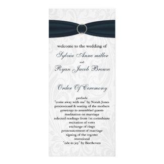 damask Blue Wedding program 10 Cm X 23 Cm Rack Card