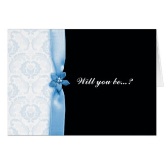 Damask blue Will you be my bridesmaid card
