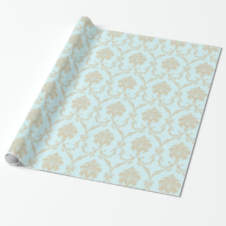 Damask Blue Wrapping Paper